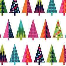 Wrap It Up Christmas Abstract Funky Xmas Trees 100% Cotton Fabric (Makower)