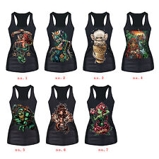 Vest Gothic Tank Anchor Mermaid Ariel Princess Womens Tees Blouses Tops Stretch