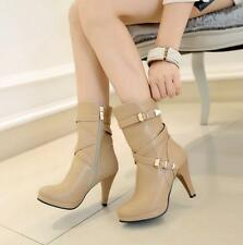 Women's kitten Heels Shoes Buckle Strap zip up Mid Calf Boots pumps