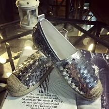 Women Fashion Sequined Loafers Casual Straw Plated Cap Toe Slip-on Flat Shoes