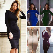 Women's Zipper Back Bodycon Long Sleeve Evening Sexy Party Cocktail Knee Dress