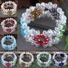 Faceted Crystal Glass Rondelle Beads Flower Woven Bracelet Bangle Jewelry Gift