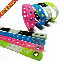 Mixed 100PCS Silicone bracelets/wristbands for Charms JIBZ Croz,2Sizes 14 Colors