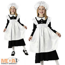 Victorian Poor Maid Girl's Fancy Dress Book Week Costume Childs Outfit + Mop Cap