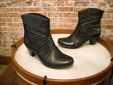 Cobb Hill by New Balance Black Leather Shannon Ruched Ankle Boot NEW