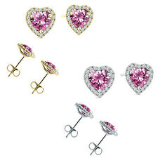 6mm Pink Topaz Birth Gem Stone Stud Halo Solitaire Heart Silver Pair Earrings