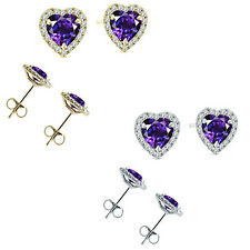 6mm Amethyst Birth Gem Stone Stud Halo Solitaire Heart Silver Pair Earrings
