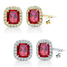 6mm Ruby Birth Gem Stone Stud Halo Solitaire Cushion Silver Pair Earrings