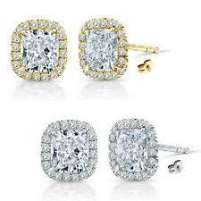 6mm Cubic Zirconia Birth Gem Stone Stud Halo Solitaire Cushion Silver Earrings