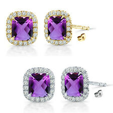 6mm Amethyst Birth Gem Stone Stud Halo Solitaire Cushion Silver Pair Earrings
