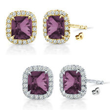 6mm Alexandrite Birth Gem Stone Stud Halo Solitaire Cushion Silver Pair Earrings
