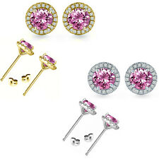 6mm Pink Topaz Birth Gem Stone Stud Halo Solitaire Round Silver Pair Earrings