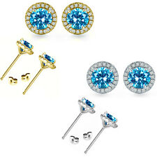 6mm Blue Topaz Birth Gem Stone Stud Halo Solitaire Round Silver Pair Earrings