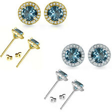 6mm Aquamarine Birth Gem Stone Stud Halo Solitaire Round Silver Pair Earrings