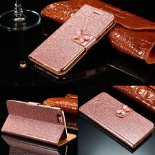 Ultrathin Bling Bow Leather Case Magnetic Flip Wallet Cover For iPhone Samsung