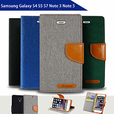 Denim Canvas Wallet Case for Samsung Galaxy S4 S5 S7 Note Note5 Card Slots Cover
