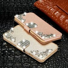 Leather Diamonds Wallet Magnetic Flip Stand Case Cover For iPhone Samsung Galaxy