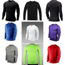 Mens Baselayer Top Adult Long Sleeve Sports Compression Top Skin Workout Top new