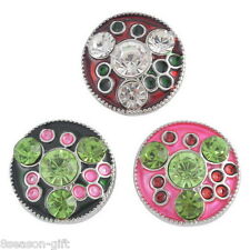 Gift Wholesale Round Enemal Round Snap Buttons Crystal Jewelry Necklace