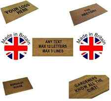 Personalised Coir Door / Floor Mat Coconut PVC Backing Black Letters & 3 Sizes