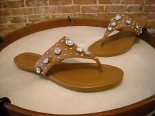 Marc Fisher Gissel Brown Leather Jeweled Thong Sandal NEW