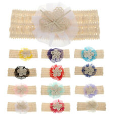 Baby Girls Lace Flower Bowknot Headbands Cotton Hair Band Headwear Accessories