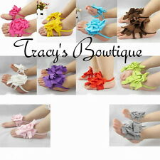Girls Baby Infant Newborn Barefoot Sandals Shoes Booties w/ Flowers 0-12 months