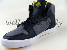 Supra Vaider denim blue navy yellow white canvas skate high shoes sneakers NIB