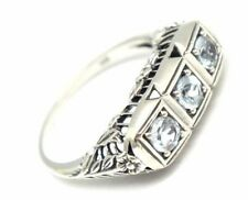 Ring Blue Topaz 925 Silver ANTIQUE STYLE Sterling silver