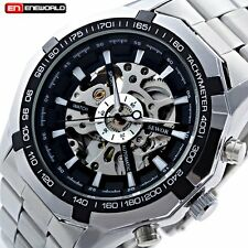 Luxury Men Skeleton Transparent Automatic Mechanical Stainless Steel Wrist Watch