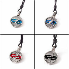 Swan Ying Yang Silver Pewter Charm Necklace Pendant Jewelry