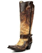 "Corral Ladies 14.5"" Snip Toe Harness Leather Cowboy Western Boots Cognac G1229"