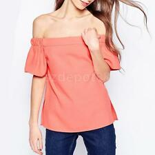 High Quality Sexy Womens Off Shoulder Strapless T-Shirt Summer Casual Tops