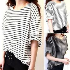 Women Korea Short Sleeve Summer Stripe Tee T-Shirt Casual Top Blouse Black White
