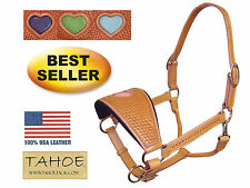 Sweetheart Hand Tooled Bronc Full Horse Halter USA Leather 50% off Free Shipping