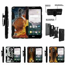For LG Stylus 2 Plus| Clip Combo Holster Stand Case Water and Fire Ball