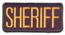 2 SMALL SHERIFF PATCHES/ BADGE EMBLEM  4 1/4 inches x 2 inches GOLD / BLACK