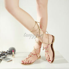 2016 Womens Cute Rhinestones Gladiator Flats Roma Sandals Tong Flip-flops Shoes