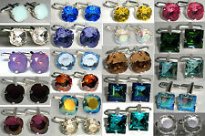 Wedding Xmas Vintage Rare Square Crystal Cufflinks made with SWAROVSKI ELEMENTS