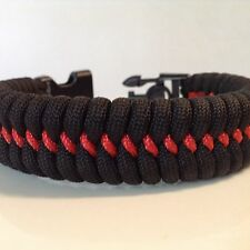 New! Firefighter Red Line Fishtail Paracord Bracelet w/ Handcuff Key Buckle