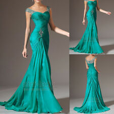 Beaded Green Mermaid Long Party Prom Dresses Formal Evening Ball Gown Size 6-20