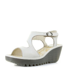 Womens Fly London Yanca Off White Leather Wedge Heel Sandals Shoes Sz Size