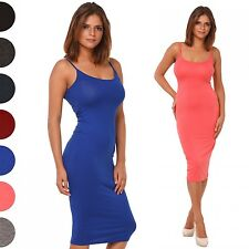 Glamour Empire. Women's Fitted Midi Length Strappy Pencil Dress Scoop Neck. 461