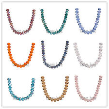 Bulk 6mm Faceted Glass Crystal Jewelry Findings Rondelle Loose Beads 111Colors