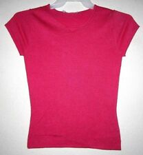 CASHMERE SILK Blend Pink Cap Sleeve Knit Rib Stretch Fitted T Tee Top Shirt NEW