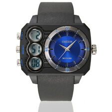 OHSEN Men Black Waterproof Digital LED Day Dual Time Sport Wrist Watch