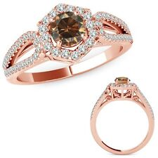 1 Carat Champagne Diamond Fancy Love Knot Halo Wedding Ring Band 14K Rose Gold