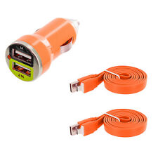 Orange Dual 2 Port USB Car Charger 2.1+1 Amp + 2X Flat Cable For Cell Phones