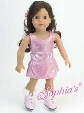"Sparkle Pink Ice Skating Dress Hair PC + skates fit 18"" American Girl Doll"