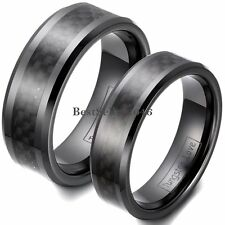 Black Ceramic Ring w Carbon Fiber Couples Anniversary Engagement Wedding Band